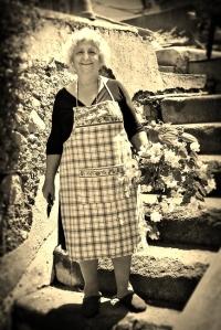 Old Italian Woman Gardening